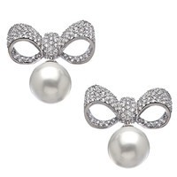 Vivian Jacob Silver and CZ Bow and Pearl Drop Earrings - Max & Chloe