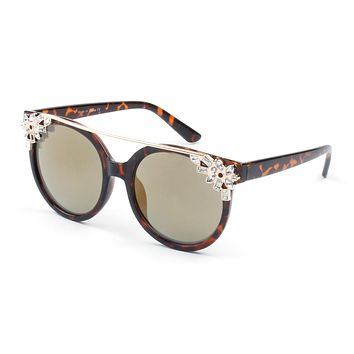 Women Circle Round Brow-Bar Rhinestone UV Protection Cat Eye Fashion Sunglasses