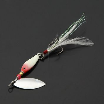 Fishing Lures 3Pcs 10g / 9.5cm Spoon Hard Fishing LuresSpinner Sequin Paillette Baits with Feather Hook Travel Fishing Tackle