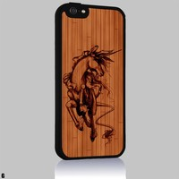 Unicorn Drawing on Wood of Art Iphone 4/4s 5 5c 6 6plus Case (iphone 6 black)