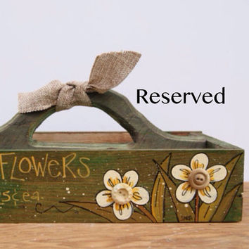 RESERVED Tool Tray With Handle Hand Painted Wood Tray In Green Garden Tool Tray Cottage Chic Decor Country Home Decor Wooden Tray Fresh Flow