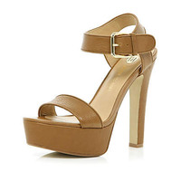 Brown chunky strap platform sandals - shoes / boots - sale - women