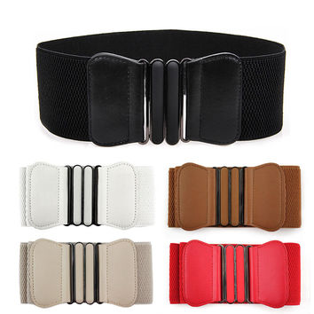 New Designer Women PU Leather Belt Buckle Wide Stretch Elastic Waistband Waist Belts For Women Adjustable