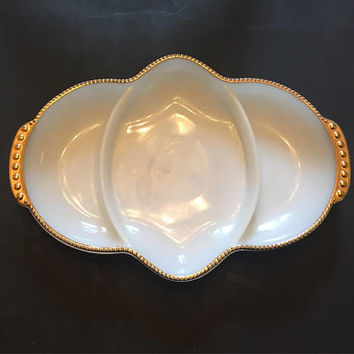 Fire King Milk Glass Relish Dish, Gold Trim Milk Glass 3 Part Divided Relish Tray