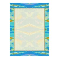 "Abstract Art Blue Orange Green 5.5"" X 7.5"" Invitation Card"