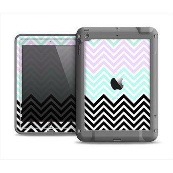 The Light Teal & Purple Sharp Black Chevron Apple iPad Mini LifeProof Fre Case Skin Set
