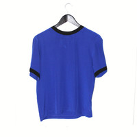 blue silk Tshirt relaxed fit MINIMALIST blue + black trim small silk shirt