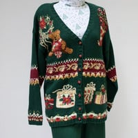 Ugly Christmas sweater holiday teddy bear December green vintage cardigan sweater one size XL