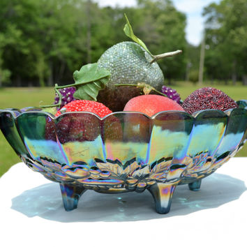 Vintage Carnival Glass Fruit Bowl