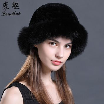 Real Rex Rabbit Fur Hat Luxury Natural Knitted Fox Fur Trim hats Fur Bucket Hat Russian Female Solid Women's Winter Cap Ladies