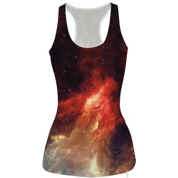 womens orange galaxy slim tank top casual sports vest for summer free shipping  number 1