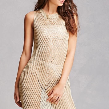 Metallic Open-Knit Dress