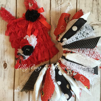 Minnie Mouse Inspired, Fabric Tutu, Shabby Chic Tutu, Petti Lace Top, Baby Headband, Photo Prop, Birthday, Red, Black, Shabby Chic