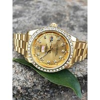 Rolex New Fashion Men And Women Models Wild White Dianond Quartz Watch Wristwatch Gold