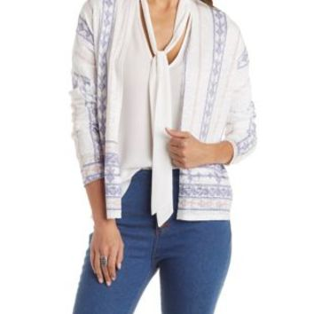 Ivory Combo Printed Cropped Cardigan by Charlotte Russe