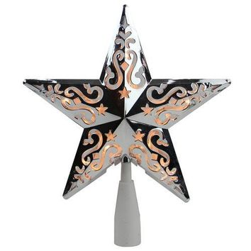 """8.5"""" Silver Star Cut-Out Design Christmas Tree Topper - Clear Lights"""
