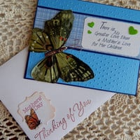 Butterfly love, mother's day greeting, handmade, complete inside, commplete outside, balsampondsdesign, green, blue shades, one of a kind