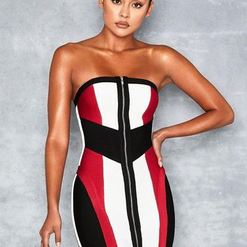 Lexis White Black Red Bandage Colour Black Dress