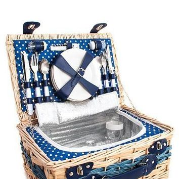Designer Straw Woven Picnic Bag with 4 People Food Utensils