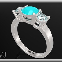 Tree Stones Ring -  Blue Topaz & Blue Chalcedony Sterling Silver Engagement Ring