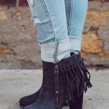 Never Failing Fringe Bootie - Grey