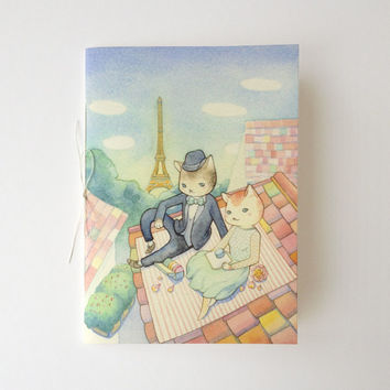 "Hand Bound Journal - ""Kitties in Paris"" - A7 saddle stitch blank art notebook"