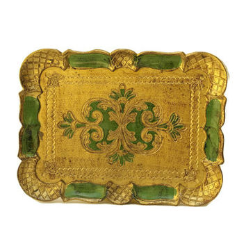 Italian Florentine Tray. Green and Gold Tray. Small Serving Platter. Boho Bedroom Decor.