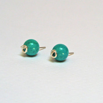 Turquoise Earrings, Turquoise Stud Earrings, 925 Sterling Silver, Turquoise Post Earrings, Small Earrings, Handcrafted Earrings