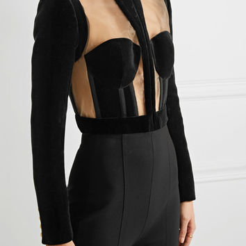 Balmain - Cropped paneled velvet and mesh jacket