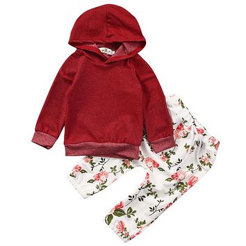 Baby Girls Kids Warm Autumn Winter Clothes Solid Sweatshirt Tops Floral Pants 2pcs Outfits Tracksuit