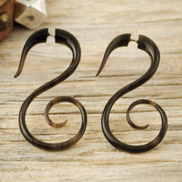 Fake Gauge Earrings Buffalo Horn Swan Spirals Tribal Earrings - Gauges Plugs Bone Horn - FG010 H Brown