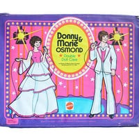 RARE Vintage 1970s Donny & Marie Osmond Barbie Doll Case | Mattel Copyright 1978 Retro Disco Celebrity Talk Show Large Carrying Trunk