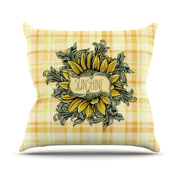 "Nick Atkinson ""Sunflower Sunshine"" Yellow Gold Outdoor Throw Pillow"