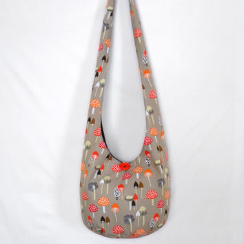 Hobo Bag, Crossbody Bag, Hippie Purse, Sling Bag, Hobo Purse, Boho Bag, Bohemian Purse, Retro Mushroom Hobo Bag, Mushrooms, Fabric Purse