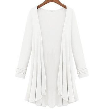Women's Casual Open White Cardigan Jacket/Coverup
