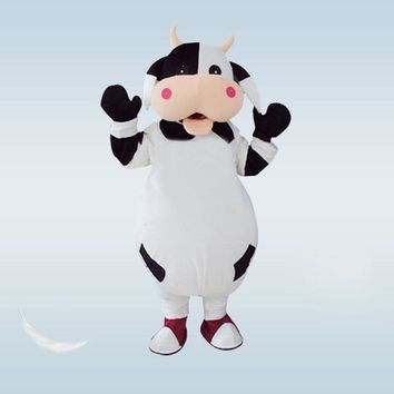 Barry the Bull / Cow White and Black Horned Cow Mascot Costume