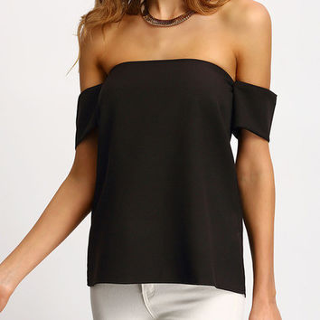 ♡ Elegance is not about being noticed - It's about being remembered...♡ Summer Trendy Romantic Black Off The Shoulder Shirt