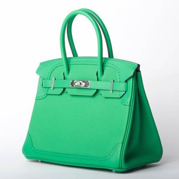 Hermes Birkin Bag 30cm Bamboo Ghillies Palladium Hardware JaneFinds