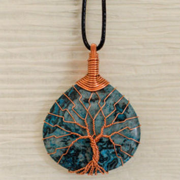 Copper Wire Wrapped Blue Stone pendant from Bazaarsrus.com