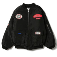Ulzzang harajuku wind coat men winter couple coat female badge thicken the student's jacket Black
