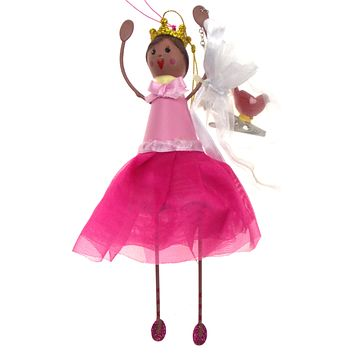 Betsey Johnson Christmas Tree Ornament Set Girl Pink Dress Red Bird Clip Crown