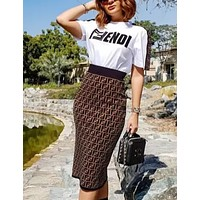 FENDI Printed Alphabet Short Sleeve Skirt Suit Two-piece