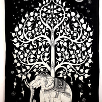 Indian Tree Of Life Psychedelic Wall Hanging Elephant  Throw Hippie Hippy Tapestry Cotton Bed cover Bohemian Bed Spread  Table Cloth