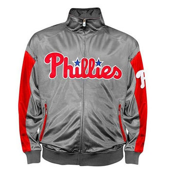 Philadelphia Phillies Majestic Tricot Track Jacket Big and Tall Sizes