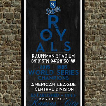 Kansas City Royals - Eye Chart chalkboard print - sports, Baseball, gift for fathers day, subway sign - Eyechart wall art