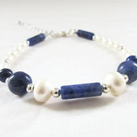 Pearl and Lapiz Lazuli bracelet , semi precious gemstone bracelet, silver plated with matching necklace, handmade in the UK