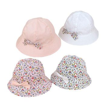 DCCKL3Z Flower Print Cotton Baby Summer Hat with Bow White/Pink Kids Girl Summer Cap Double Sides can Wear for 1-3 Years 1 PC