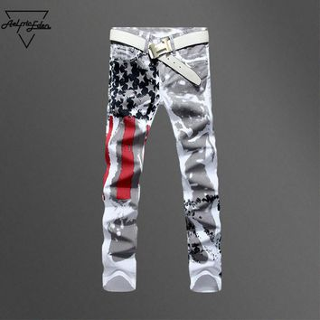 Aelfric Eden White USA Flag Jeans Men Fashion Red Striped Black Star High Elastic Slim Denim Pants Man Biker Hip Hop Trousers