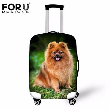 FORUDESIGNS 2018 Elastic Trolley Travel Luggage Cover Stretch Suitcase Protective Cover Cute 3D Animal Dog Luggage Dust Covers