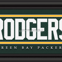 "Green Bay Packers Aaron Rodgers Print - Signature 8""x24"""
